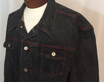 Vintage Men's Guess Jacket Hip Hop XXXL 3XL Black Denim with Red Stitching Riveted Buttons Made in USA Oversize 90s Nineties