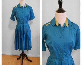 1950s Turquoise Blue Dress 1960s Dress Silk Dupioni Dress Norman Wiatt Shirtwaist Fit and Flare Short Sleeve Day Dress Size X-Small
