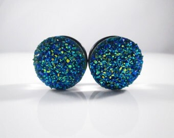 Dark Blue Green Large Sparkle Faux Druzy Plugs - Available in 3/4 in, 7/8 in