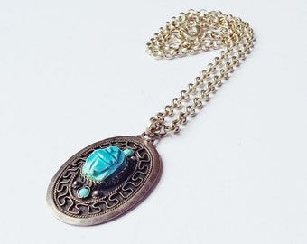 Egyptian Scarab Pendant Necklace Sterling Silver Turquoise Amulet Style Oval Art Deco