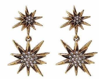Starburst Earrings | Sunburst Earrings | Star Earrings| Gold Star Earrings |  Antique Gold Earrings