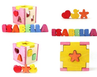 Wooden toy - Wooden toy for kids - Personalized box - Personalized shape sorter - Birthday gift - baby Toy - Kids Toy - Wooden Gifts