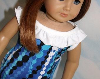18 Inch Doll (like American Girl) Blue and White Dot Print Ruffled Hi-Lo Top and White Leggings