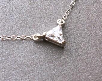 CZ Pendant, CZ Pendant Necklace, Triangle Necklace, Bridesmaids Gift, cz Layering Necklace, CZ Bar Necklace, Cz Rectangle Necklace
