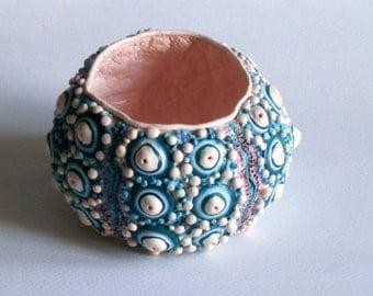 Teal pink bracelet sea urchin bracelet Sputnik turquoise blue polymer clay wide bangle