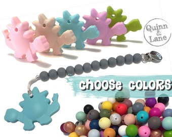 Silicone Teething Pacifier Clip with Dinosaur Teether - Bite Beads Soother Clip Baby Toy - Chew Toy - You Choose Colors