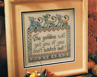CROSS STITCH PATTERN - Halloween Goblins Counted Cross Stitch Pattern - Halloween Cross Stitch Pattern