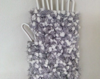 Gray and White Fingerless Mitts  Ready to Ship!