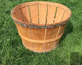 Vintage Bushel Basket, Farm Produce Basket, Rustic Wood Basket