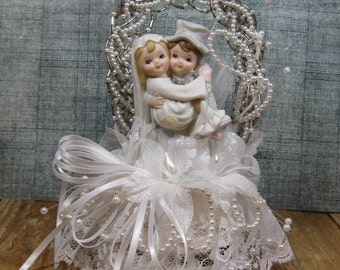 Wedding Cake Topper Bride and Groom Vintage