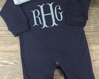 Baby Boy Coming Home Outfit, Monogrammed Personalized Romper w/ Hat, Custom Baby Boy, Baby Shower Gift, Newborn Pictures, Navy Romper