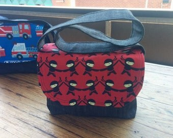 Mini Messenger Bag, Black Denim Outer and Lining, Cotton flap with Red and black ninja print