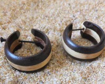 Gorgeous Hand Carved Coconut Wood Hoop Earrings