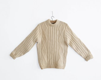 Vintage Irish/Fisherman Cable Knit Sweater - 100% Worsted Wool - 1960s era