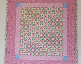 """Doll Quilt, 18.25"""" x 19.5"""", Pink, Yellow, Daisies, Patchwork Print Quilt, Free Pillow"""