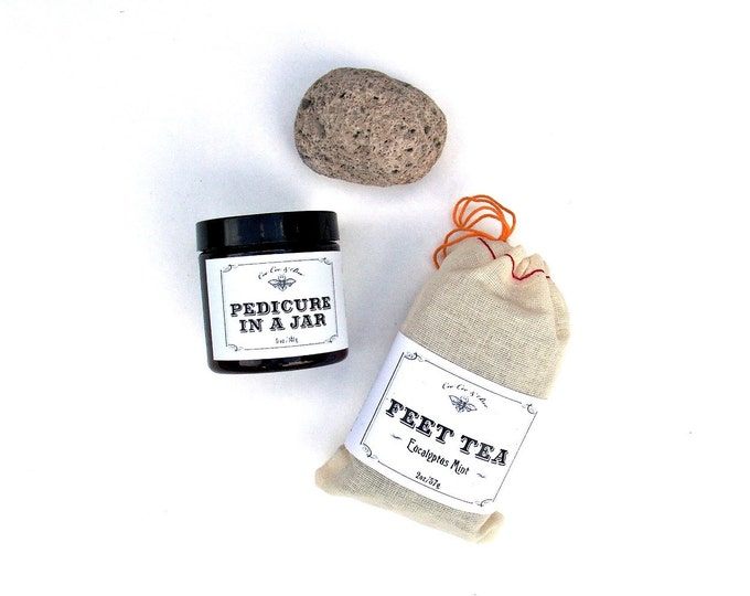 Pampering Pedicure Gift for Her - Pedicure in a Jar, Feet Tea, Natural Pumice Stone // best selling // gift wrapped