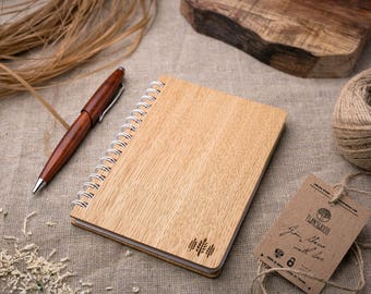 Wood Notebook Small trees engrave, Wooden Notebook, Wood Notepad, Wooden Sketchbook, Birthday Day Gift, Personalized note book, Sketch Pad