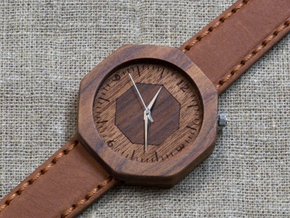 """Wood watch  """"DUBLIN"""", rosewood Majestic Watch, Terracotta Genuine Leather strap + Any Engraving / Gift Box. Christmas   gift"""