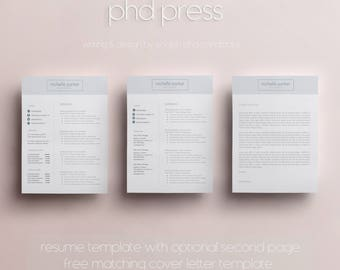 Resume Template & Cover Letter Template, CV Template w/Business Card Template - Social Media Icons and Skills - Word Document A4, US Letter