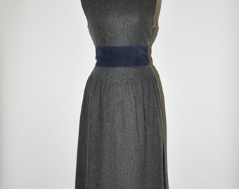 80s gray wool dress / 1980s sleeveless dress / vintage pinafore dress