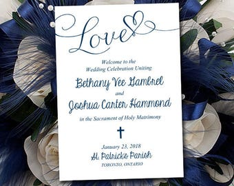 Catholic Wedding Program Template - Marine Program Printable - Fold Over Ceremony Program Download - Order of Ceremony DIY Wedding Timeline