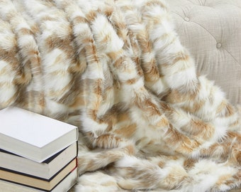 Luxurious Faux Fur Throw Blanket  - Tan - Off White - Luxury  Desert Fox - Backed with Minky Cuddle Fur - Fur Accents Designs USA