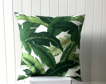 "Outdoor Tommy Bahama 45cm x 45cm - 18"" x 18""  Square/Cushion / Pillow Cover Tropical Green  and White Palm Leave/ Banana Leave/Beach House"