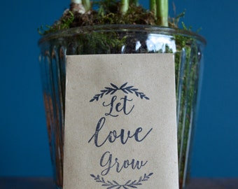 Handmade Ethical Wedding Favour Sunflower Seeds, Let Love Grow Packs of 10