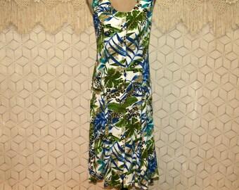 Tropical Dress Summer Dress Sleeveless Button Up Rayon Midi Beach Dress Small Medium Crinkle Leaf Print Dress Dressbarn Womens Clothing