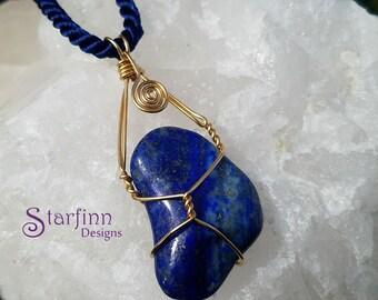 Lapis Lazuli Necklace for Women, Brilliant Blue Lapis Pendant, Blue and Gold Wire Wrap, Lapis Gold Pendant, Gold Wire Jewelry, Wire Wrap