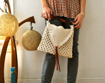 Bohemian Fringe Cotton Crocheted Bag/Purse
