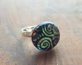 Dichroic glass ring in yellow-gold swirl and black/Handcrafted metallic glass ring on silver band/Handmade ring