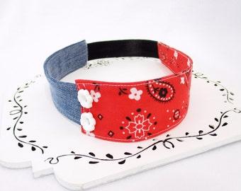 Red Bandana Headband, Denim Womens Headband, Cowgirl Headband For Women, Bandana Hair Accessory, Denim Hair Accessory, Gift Under 15