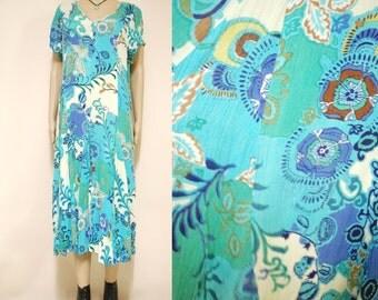 90s Vintage Seapunk Dress Floral Semi Sheer Boho Gauzy Long length Hippie Grunge Vtg 1990s Size M-L