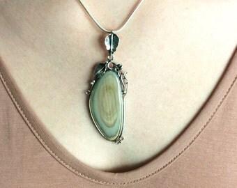 Freeform Imperial Jasper Pendant // Jasper Jewelry // Sterling Silver // Village Silversmith