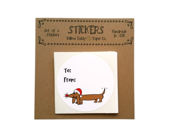 Christmas Gift Tag Set - Dogs - Dachshund Christmas Tag Stickers - Sticker Labels - Gift Wrapping