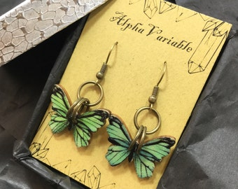 Green Wooden Butterfly Earrings- Steampunk Jewelry - Apocalyptic Steampunk Gypsy Boho Jewelry - Cosplay - FAST Shipping FREE Gift Wrap!