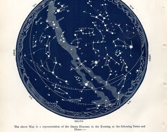 1887 Antique Astronomy Print Constellations Star Map August September Celestial Science Space Vintage Astronomy Print
