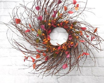 Wreath For Fall, Fall Wreath For Door, Cake Stand Decor, Rustic Fall Wreath, Fall Centerpiece, Wispy Wreath, Candle Wreath, Autumn Decor