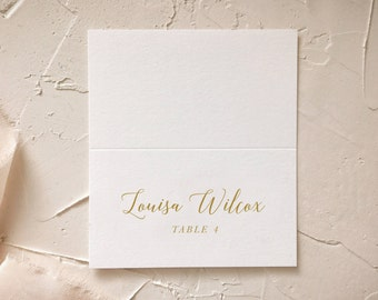 Gold Calligraphy Place Cards or Escort Cards for Elegant Barn Wedding