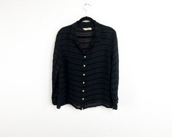 Sheer Black Lace Striped Blouse