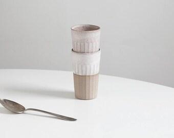 Handmade Slipcast White Speckled Tumbler, stoneware cup, handmade pottery mugs, ceramic mugs, water glasses