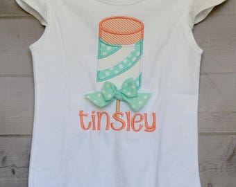 Personalized Push Up Popsicle Dreamsicle Ice Cream Applique Shirt or Onesie Girl