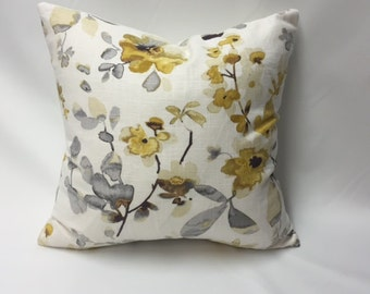 Shades of Yellow, Gold, & Grey Watercolor Flowers Decorative Pillow Cover