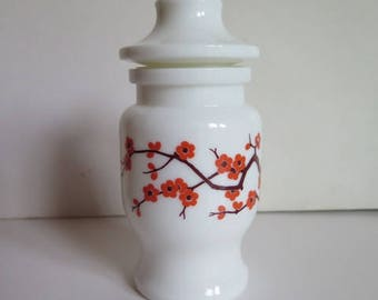 Milk Glass Apothecary Jar with Lid// Apothecary Jar//Belgium Milk Glass