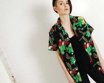 parrot print 80s button-up shirt