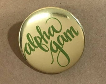 Gold Foil Alpha Gamma Delta Button or Magnet