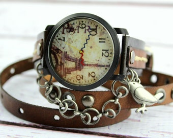 Eiffel Tower Watch, Paris Leather Watch, Black and Brown Leather Wrap Watch, Women's Wrist Watch with Chain, Traveler's Gift, Christmas Gift