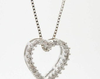 """Solid 14K White Gold 0.25cttw H/SI Round Diamond Open Heart Pendant Necklace-18""""; sku # 2566"""