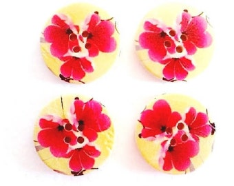 4 pack of 30mm 3 Pink and red floral on green background wooden buttons